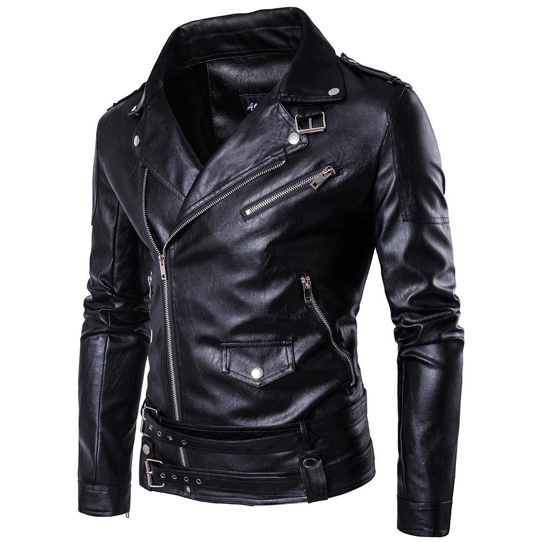 cheap for discount 1906c 51247 Primavera Autunno 2017 Nuovo Marchio Maschio Faux Giacca in pelle Uomo Moto  Bomber Biker Uomo Giacche in pelle e cappotti