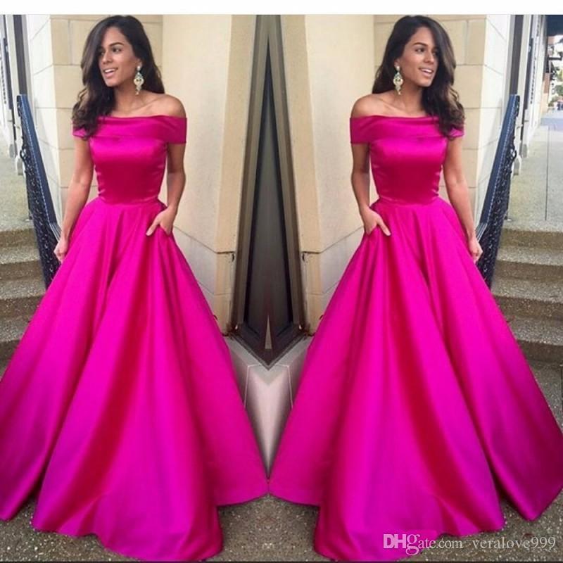 Fushia Long Elegant Evening Gown Dress