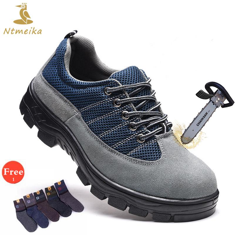 e17fcf2af50 Plus Size 37-46 Men Safety Shoes Steel Toe Steel Insole Cow Suede Safety  Boots Men Lace Up Breathable Casual Safe Toe Work Shoes