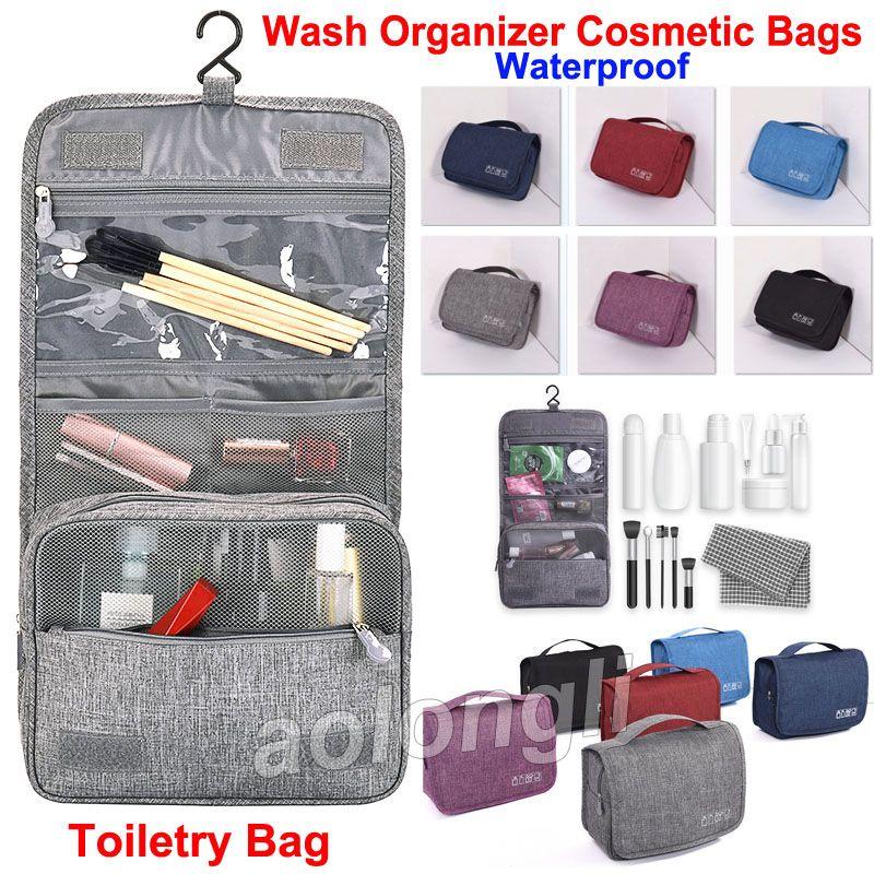 9c8d1d40f4bb Unisex Travel Hanging Toiletry Bag Wash Makeup Bag Cosmetic Bags with hook  Organizer Bag Waterproof Large Capacity Bathroom Bags 6 Colors