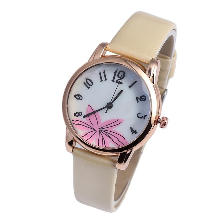 5387fdea6889 Compre Marca Mujeres Pulsera Reloj Moda Rosa Oro Flores Cuero Mujeres Simple  Vestido Relojes Luxury Business Gift Reloj Reloj  G A  20.06 Del Ogfashion  ...