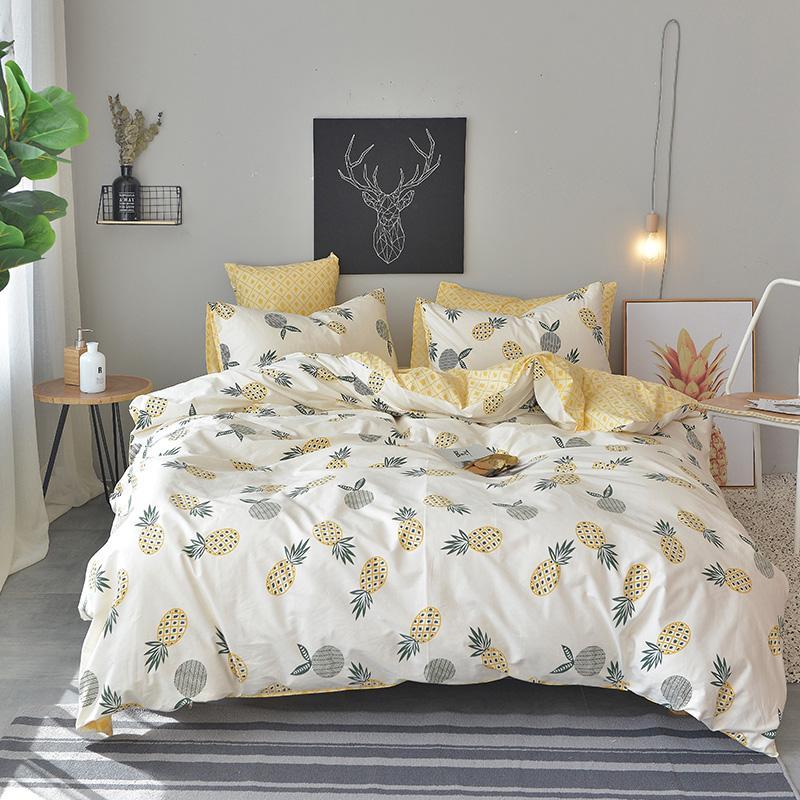 Spring/Autumn New Duvet Cover Set Yellow Bed Sheet Pineapple Duvet ...