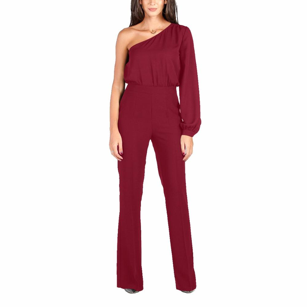 2018 New Spring Autumn Women Jumpsuits Long Sleeve Off Shoulder Patchwork Jumpsuit Black Blue White Wine Red Solid Color Rompers