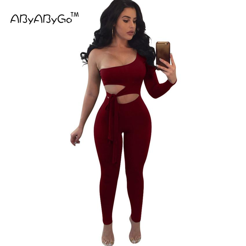 692f8b107b65 2019 ABYABYGO Rompers Women Jumpsuit Off Shoulder Bodycon Jumpsuit Casual  Backless Full Female Romper Overalls For Women Club Wear From Candd