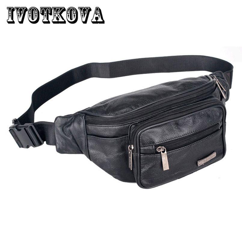 d89e26027d3f6 IVOTKOVA Split Leather Men Waist Pack Fashion Money Phone Bag Casual ...