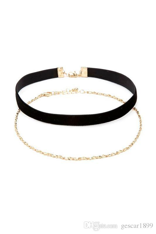 High Quality Choker Fashion Jewelry Gift Gold Silver Velvet Two Layers Black Necklace Choker Neck Chain For Women