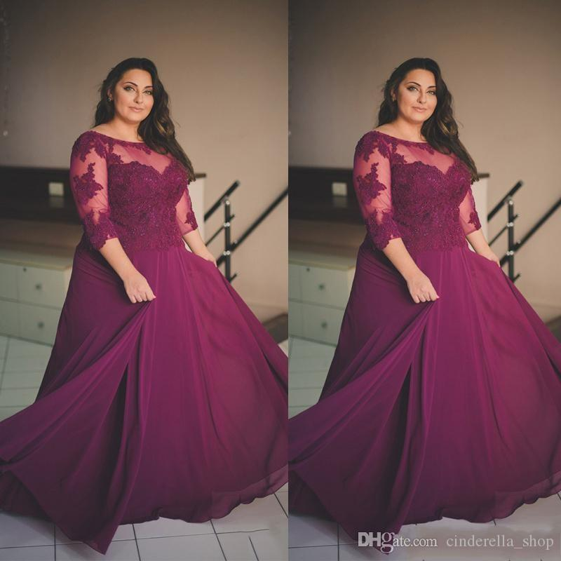 Plus Size Grape Prom Dresses 2018 A Line Sheer Neck 3//4 Long Sleeve ...