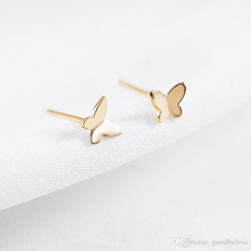 fad418ef7 2019 Pure 925 Sterling Silver & 18K Yelllow/Rose/White Gold Plated Cute  Mini Small Butterfly Piercing Stud Earrings For Women Kids From Goodbylove,  ...