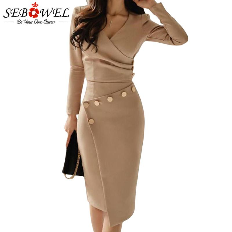 SEBOWEL Elegant Khaki Button Bodycon Midi Dress Women Long Sleeve Sexy  Ruched Evening Gown Lady Asymmetrically Wrap Office Dress White Dress With  Flowers ... 46f1fb78a967