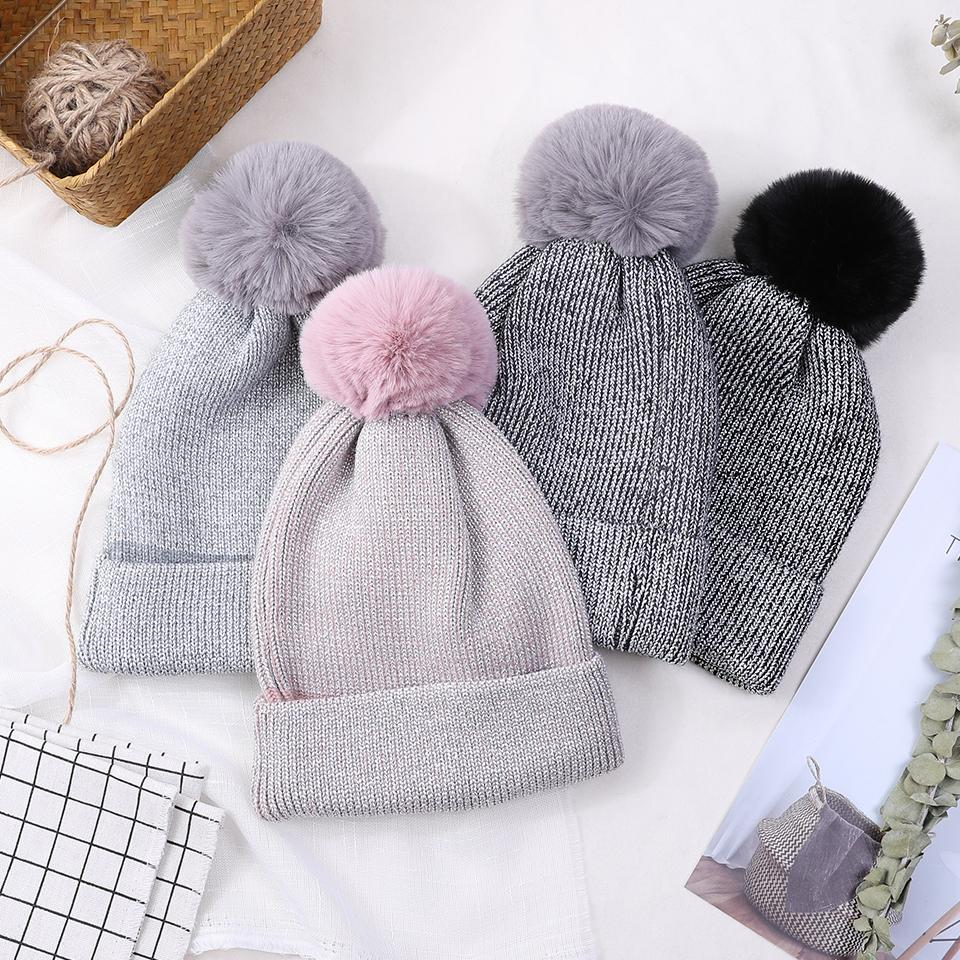 8cf75f96a25 2018 Women S Winter Hat Beanies For Ladies With Pom Pom Fur Skullies ...