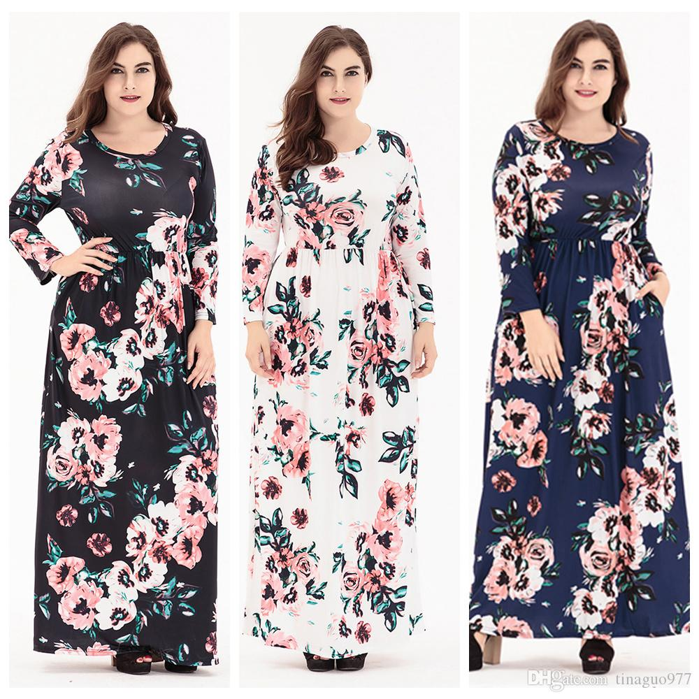a2c1956d6c266 Long Sleeve Plus Size Maxi Dresses For Women Floral Print Long Dress With  Pocket Design In Spring Fall Shopping For A Dress Blue Dress Sale From  Tinaguo977