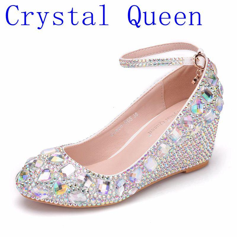 5ee6160e3fb468 Wholesale Womens Wedding Shoes Woman High Heels Pumps Bling Shining  Platform Wedge Shoes Ladies Party Dress Shoes 5CM Heels Red Shoes Mens  Slippers From ...