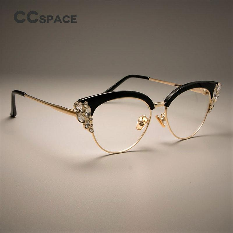 2fbf75de49 CCSPACE GORGEOUS Ladies Cat Eye Shiny Rhinestones Glasses Frames For Women  Brand Designer Eyewear Optical EyeGlasses 45120 Affordable Eyeglass Frames  Boys ...
