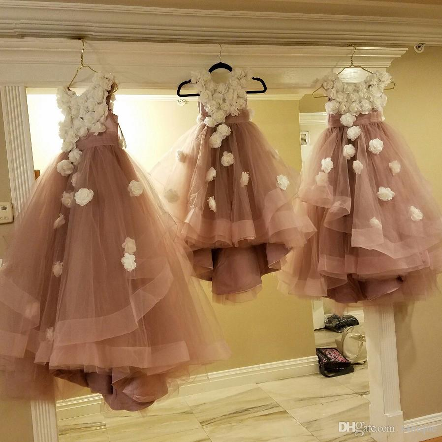 Real Photo Dusty Pink Flower Girl Dresses With Ivory Flowers Tulle