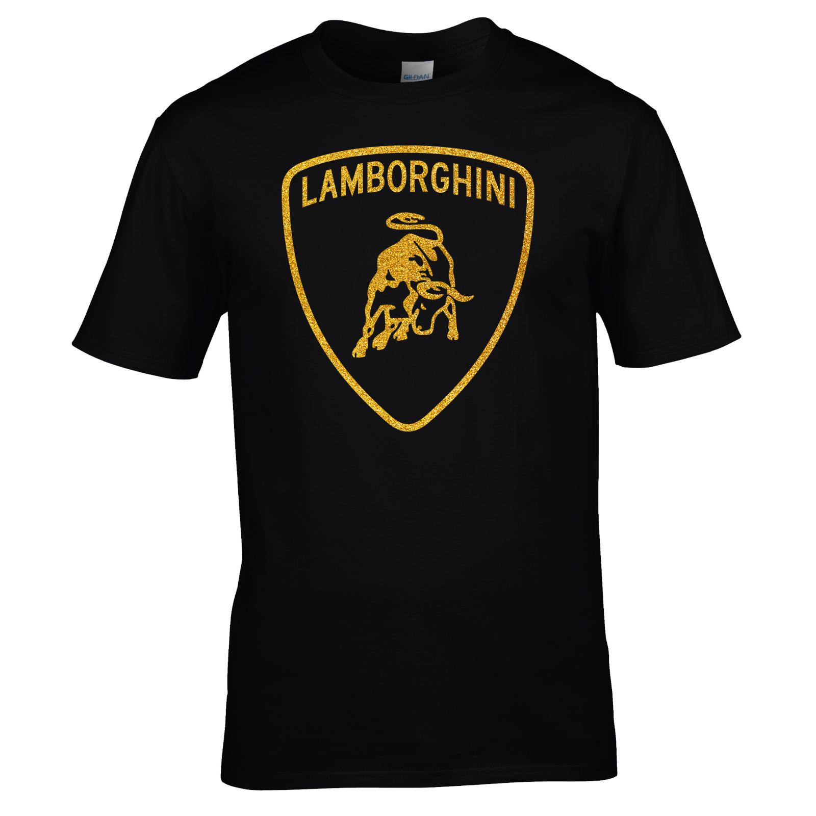 Men;S T Shirt Shirt Premium Quality Gold Glitter Vinyl Lamborghini T Shirts  Short Sleeve Leisure Fashion Summer Short Sleeve Cool Casual One Day Only T  ...