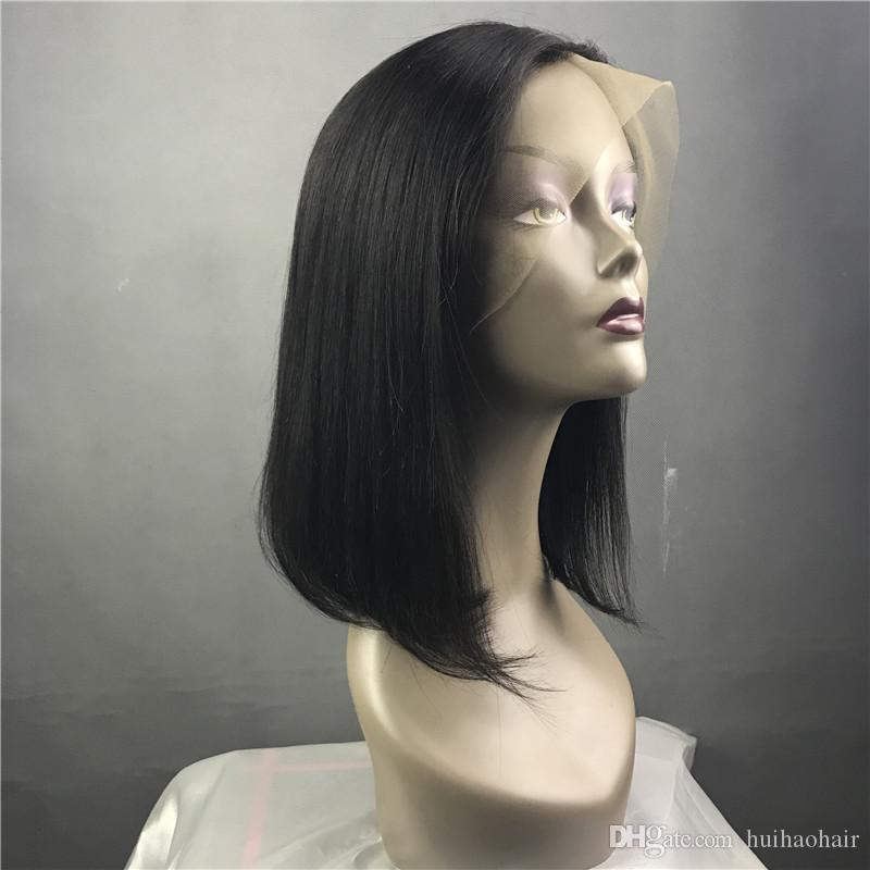 9A peruvian virgin hair 130% density bob lace wig front lace wig & glueless full lace wig short human hair