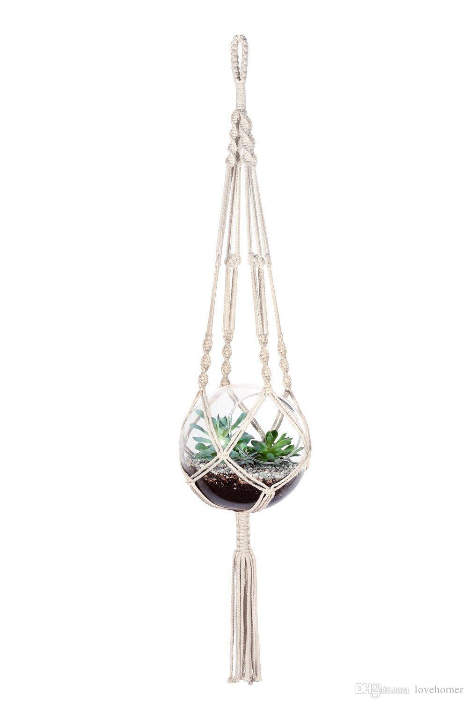 مكرميه النبات المعلق في الأماكن المغلقة في الهواء الطلق شنقا الغراس سلة حبل القطن 4 الساقين 41 بوصة