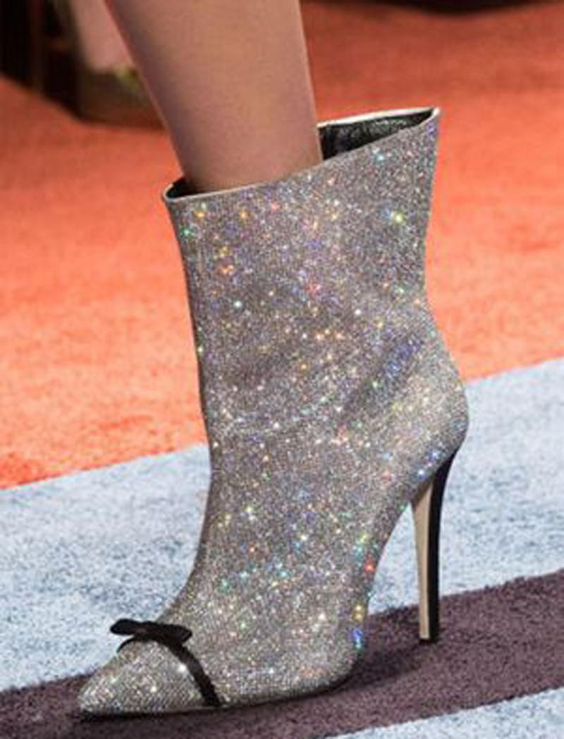 fde2c380c9732 Sexy Bling Bling Crystal Ankle Boot Bowtie Point Toe Bottines PVC Stiletto  High Heel Women Glitter Rhinestone Boot Real Pictures Army Boots Peep Toe  Booties ...