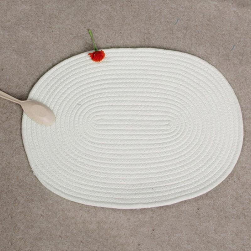 3pcs/set Placemat Round Woven Coon Coaster Double-sided Available Non-slip Table Mat Heat-resistant Kitchen Coaster for Table