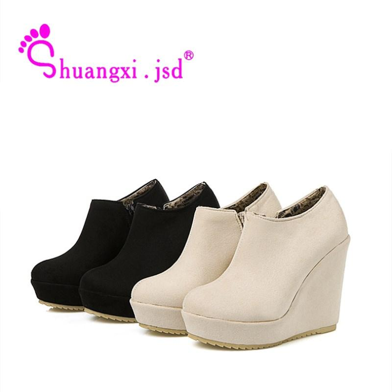 e4b6ec13434e Jsd 2018 Winter Black Super High 12cm Women Boots Non Slip Wedges Snow  Boots Plus Size 41 42 43 Keep Warm Woman Shoes Green Boots Cute Shoes From  Arrownet
