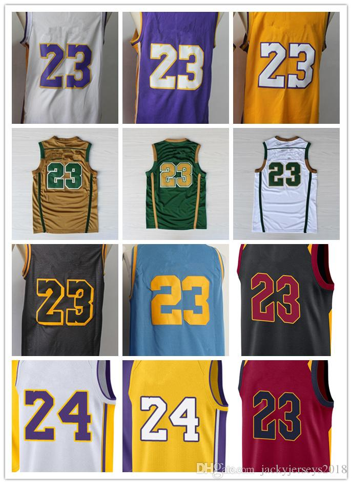 dce4b44de2c 2019 2018 Top New Jersey Men S 23 LJ Jersey 24 KB Shirts All Star Yellow  White Purple College City Edition Shirts Basketball Jerseys From  Jackyjerseys2018