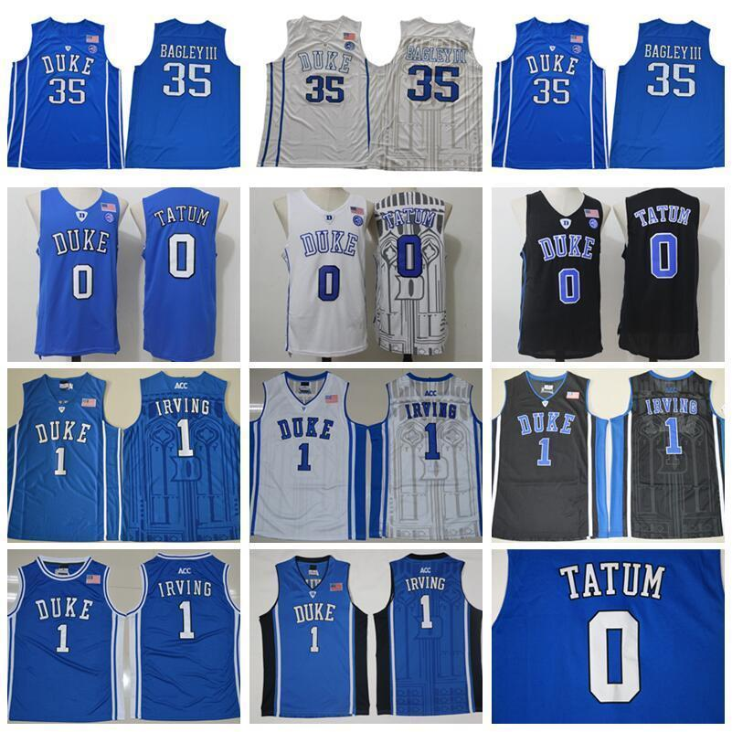 brand new f703d 7bd96 Duke Blue Devils College 35 Marvin Bagley Jerseys III 3 Grayson Allen 1  Kyrie Irving Jersey 0 Jayson Tatum Basketball Uniform Blue Black
