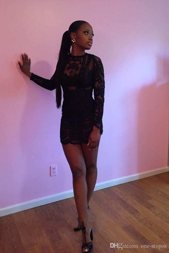 Vendite calde brevi vestiti da promenade Sexy vedere attraverso pizzo nero manica lunga cappotto staccabile piano Lunghezza mini abiti da sera spettacolo Pageant BO861