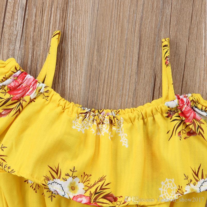Enfant en bas âge bébé fille vêtements jaune florale courroie à volants tops gilet shorts bas été tenues tenues de plage