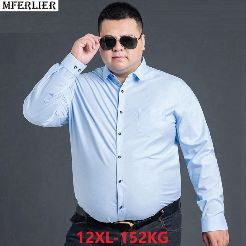 109a0bfd5df 2019 MFERLIER Men Summer Shirts Short Sleeve 8XL 9XL 10XL 11XL 12XL Plus  Size Big 7XL Cotton Formal Dress Shirts Work Business Office D18102301 From  Shen06