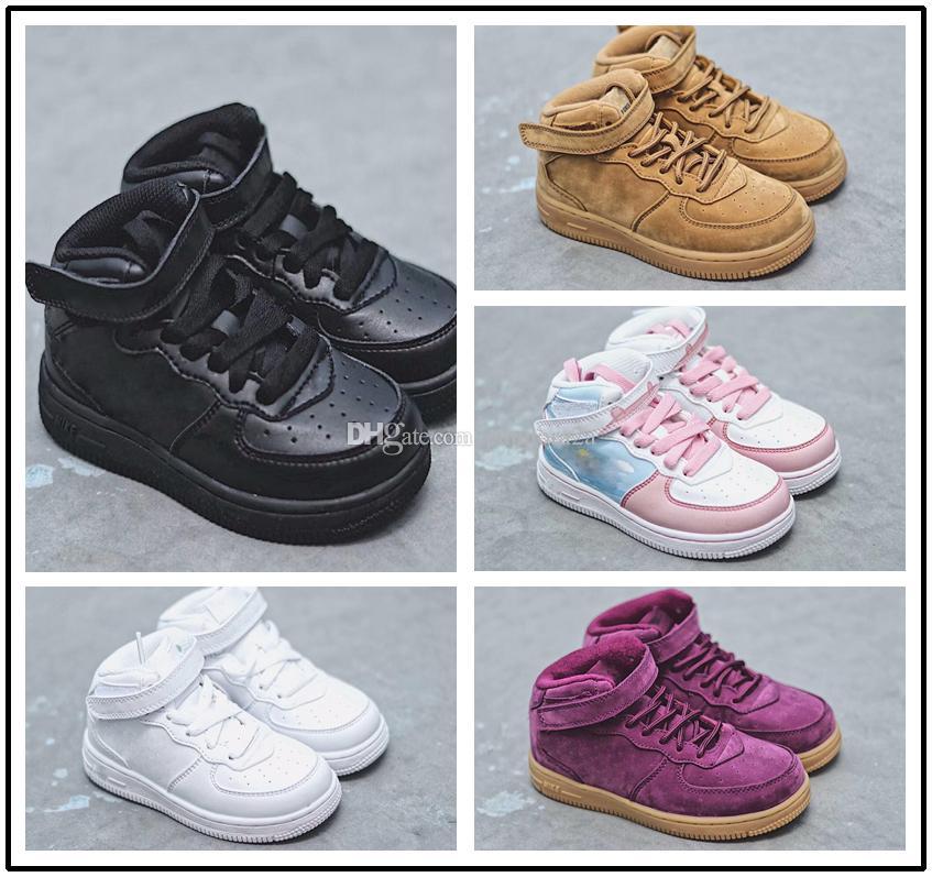 lowest price 6c622 4e114 Großhandel Nike Air Force 1 Af1 Baby Kinder Klassische AF Turnschuhe  Trainersi Säugling Junge Mädchen Air High Low Cut Lila Eins 1 Kleinkind  Schuhe Sport ...