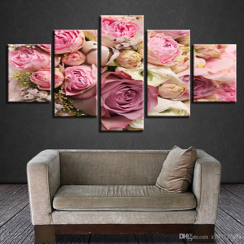 2018 canvas hd prints pictures pink roses flowers paintings cuadros canvas hd prints pictures 5 pieces pink rosesg mightylinksfo