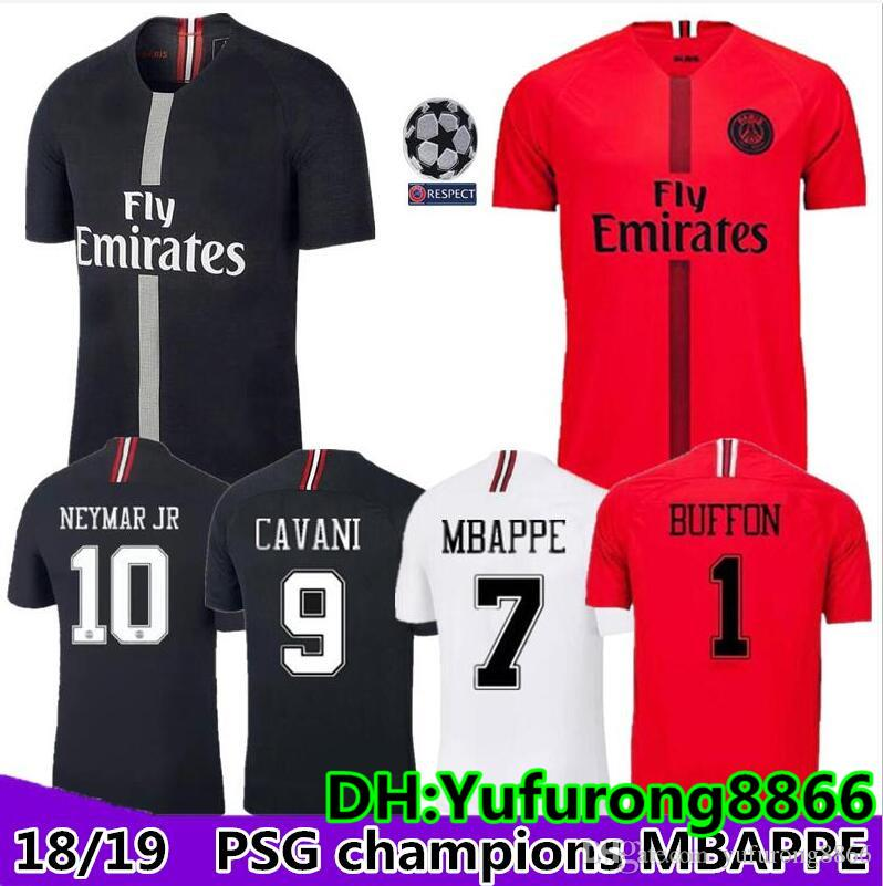 1014921a2b9 2019 2018 Psg Jersey 18 19 Champions League MBAPPE Red Black Goalkeeper  Buffon VERRATTI White Jordam Soccer Jerseys Paris Maillot De Foot Shirt  From ...