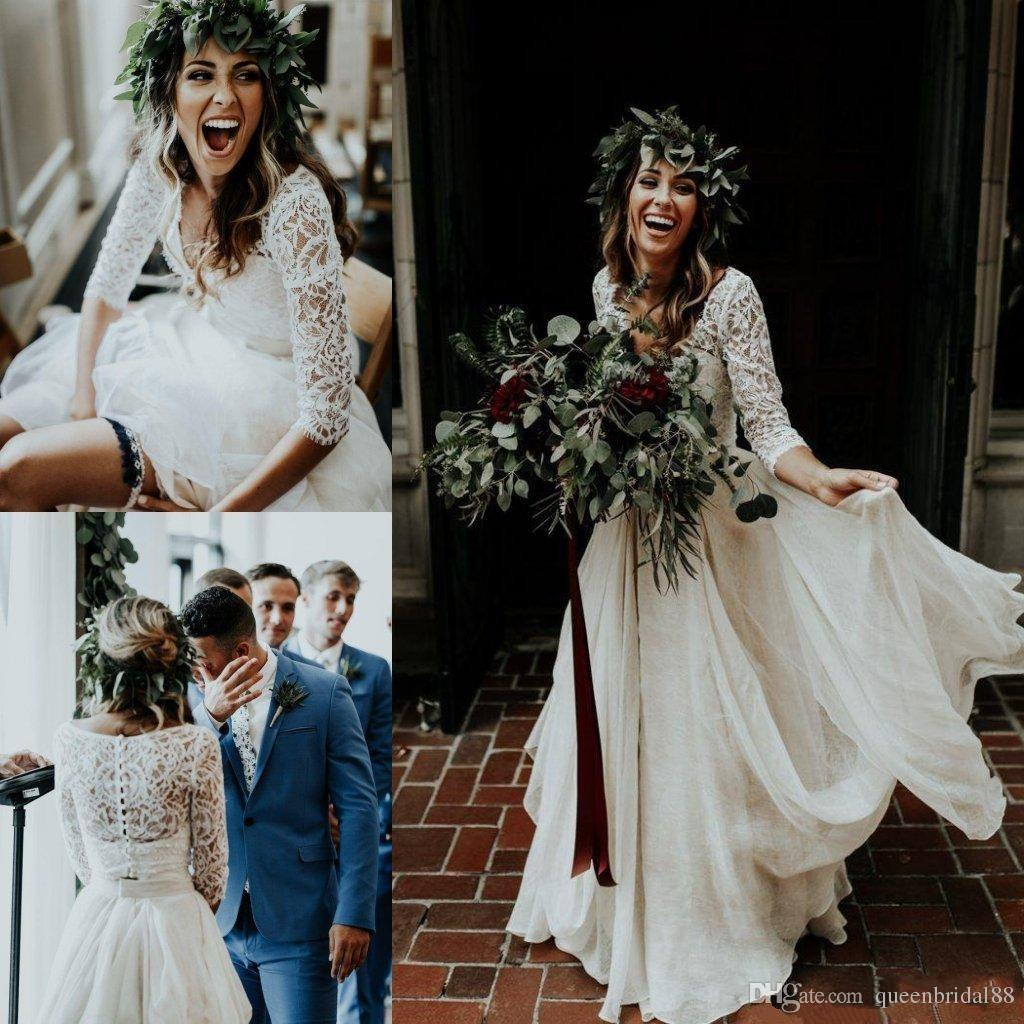 2019 Two Pieces Country Wedding Dresses Lace 3/4 Long Sleeves Buttons Back Boho Bridal Gowns Chiffon A Line Dress