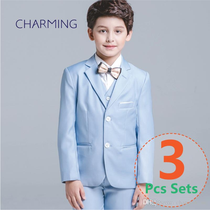 986549ac577c0 Boy Formal Blazer Children Wedding Party Suit Elegant Kid Boy Wedding Suit  Gentlemen Boys Suits 3PCS Suit (Jacket Vest Pants)
