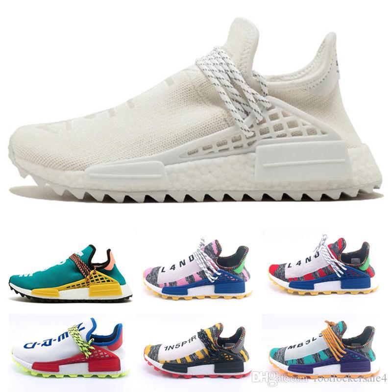 new style 5d4b2 cf232 2018 New Arrive pharrell williams human race Solar Pack Women Men Running  Shoes Sport Holi Cream human races running shoes
