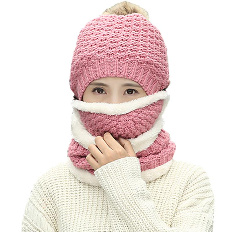 bf54df07141 New Winter Fashion Women Knitted Hat Scarf 3pcs Set Wool Thickening Hat  Collars Female Warm Scarf Set Casual Snow Caps