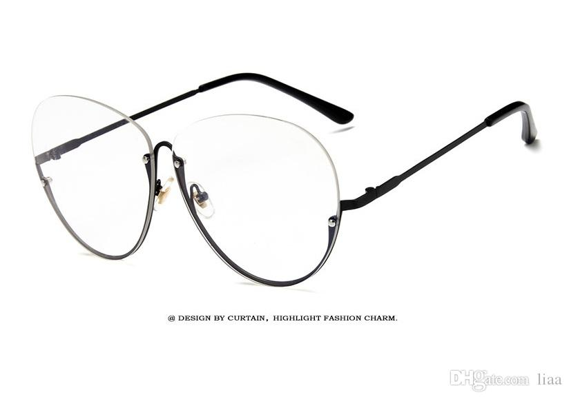 5618a2a91ad7 2019 2018 Large Frame Flat Mirror Simple Half Frame Transparent Glasses  Frame Fashion Retro Men And Women Glasses From Liaa