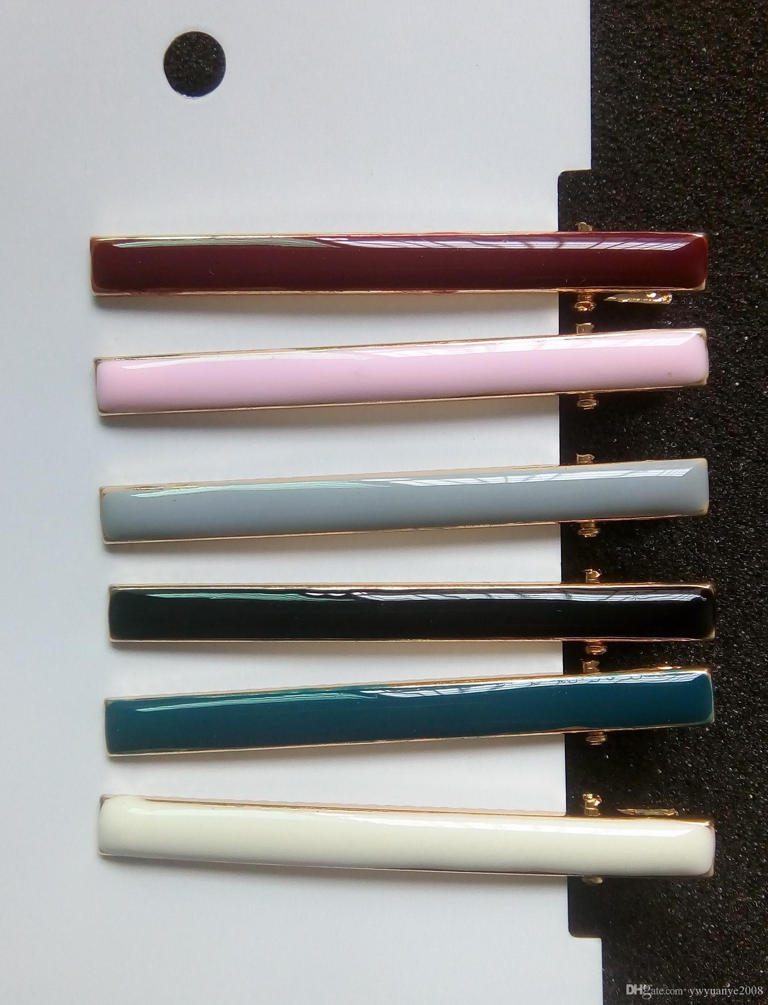 Neue Klassische Epoxy Haarspangen Gold Flache Ente Metall Emaille Haarspangen Tropföl Mischfarben Haarnadel Set Für Frauen 6 STÜCKE viel