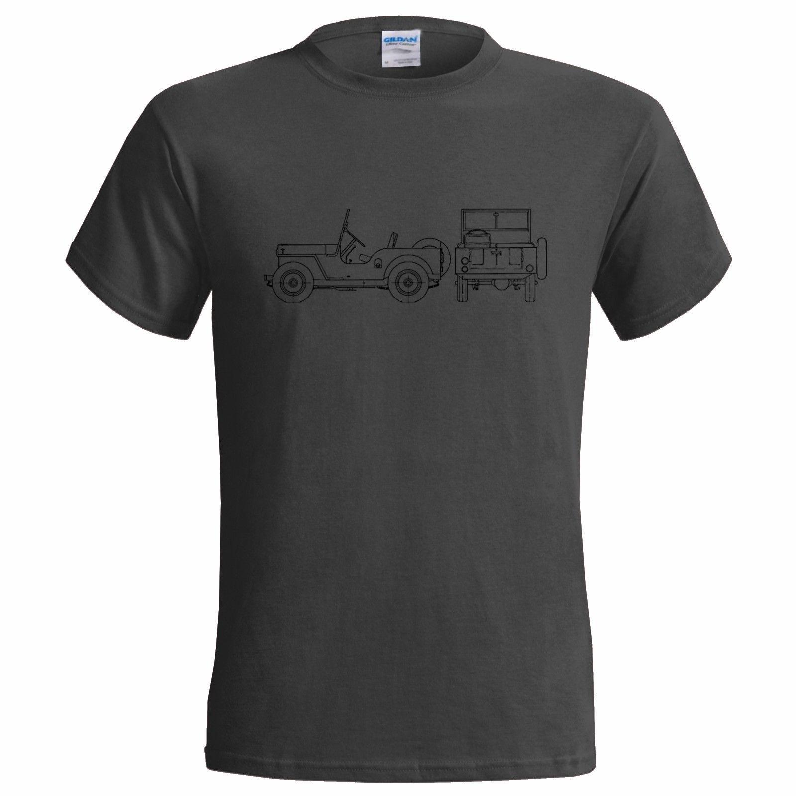 JEEP CJ 2 UNIVERSAL BLUEPRINT MENS T SHIRT CLASSIC CAR WILLYS AMC KAISER  Casual Funny free shipping Unisex tee gift
