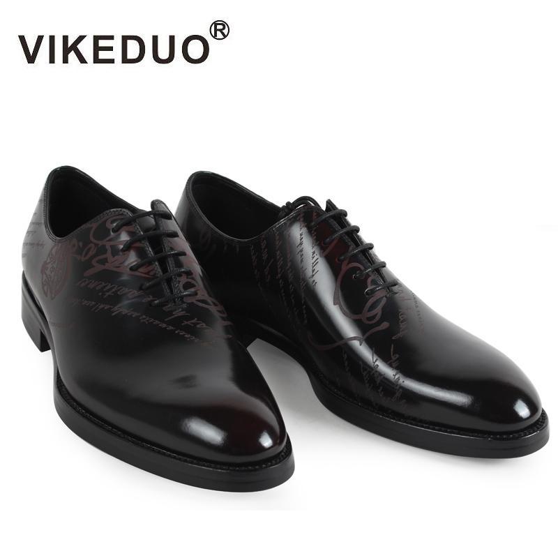 b413f07e2ec5f Acheter VIKEDUO 2018 Classique Vintage Hommes Chaussures Noir Loisirs  Véritable Veau En Cuir Robe Chaussure Homme Formelle Chaussures Bureau De  Mariage ...