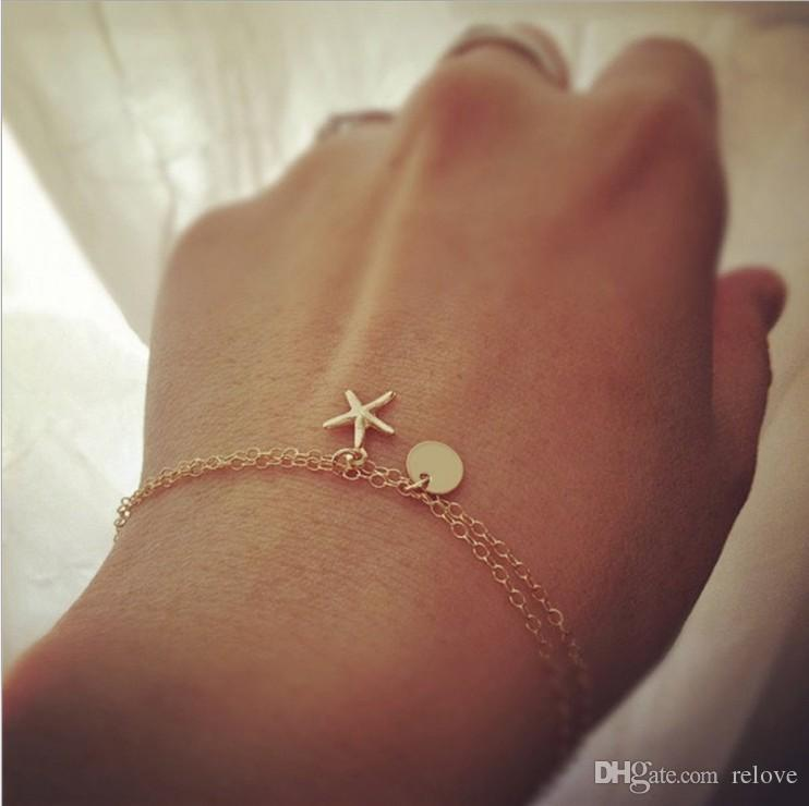 2018 New double Chain Starfish pendant charm bracelet Bohemia Alloy All-match Hand Made bracelet