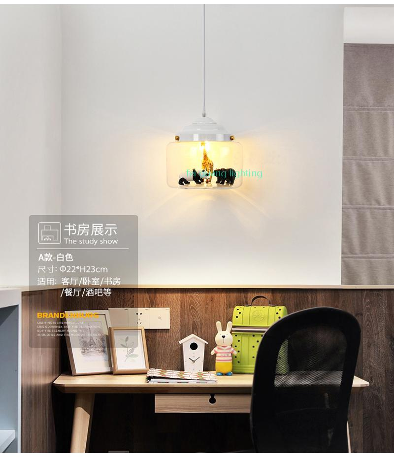 Nordic vetro luce del pendente ristorante bar cafe creativo modelli animali decorativi lampada a sospensione sala da pranzo illuminazione camera bambino