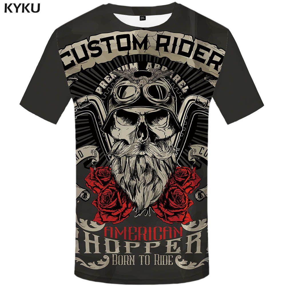 ab67cd7b669fe Satın Al Toptan KYKU Marka Motosiklet T Shirt Punk Tişört Şövalye Gömlek 3d  T Gömlek Erkekler Rahat Kaya Vintage Hip Hop Yaz Tee Üst Homme Giysileri,  ...
