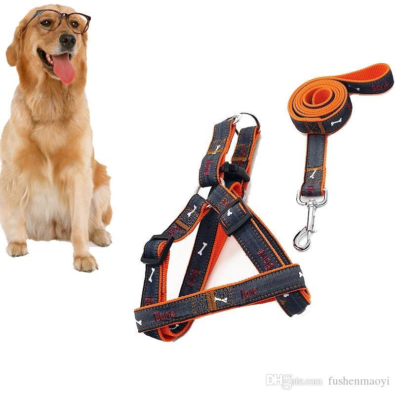 جودة عالية رخيصة الثمن مستلزمات الحيوانات الأليفة الكلب القط المقود يسخر مجموعة العظام أنماط الجينز القماش الأزياء كلب هارنس الكلب المقاود