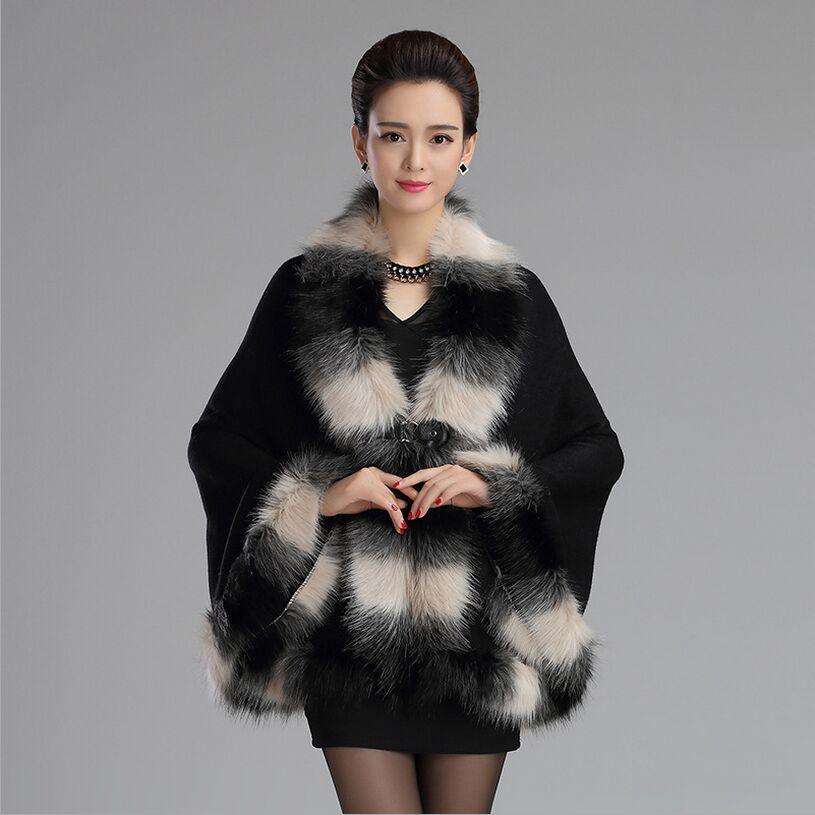2017 otoño invierno nuevo elegante chal de piel de punto mezcla de color de piel sintética capa poncho cuello de zorro cardigan de punto abrigo de piel para mujeres