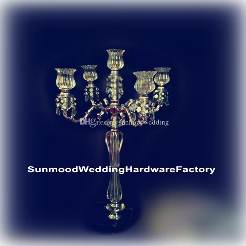 стойки цветка венчания новой продукции акриловые кристаллические с стренгами стеклянной бусины
