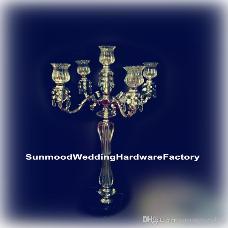 new produce acrylic Crystal Wedding Flower Stands with glass bead strands