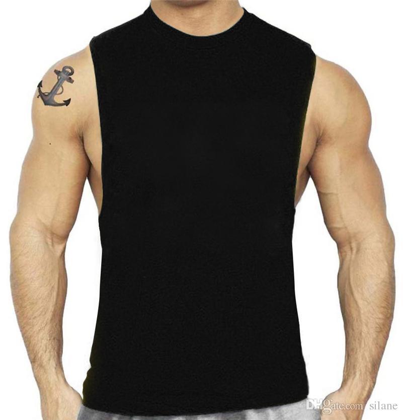 c53caeb453720 Wholesale- Big Mens Tank Top Cotton O-Neck Solid Bodybuilding Seven Colors Bodybuilding  Wear Top 10 High Tops Bodybuilding Sweater Online with  35.52 Piece ...