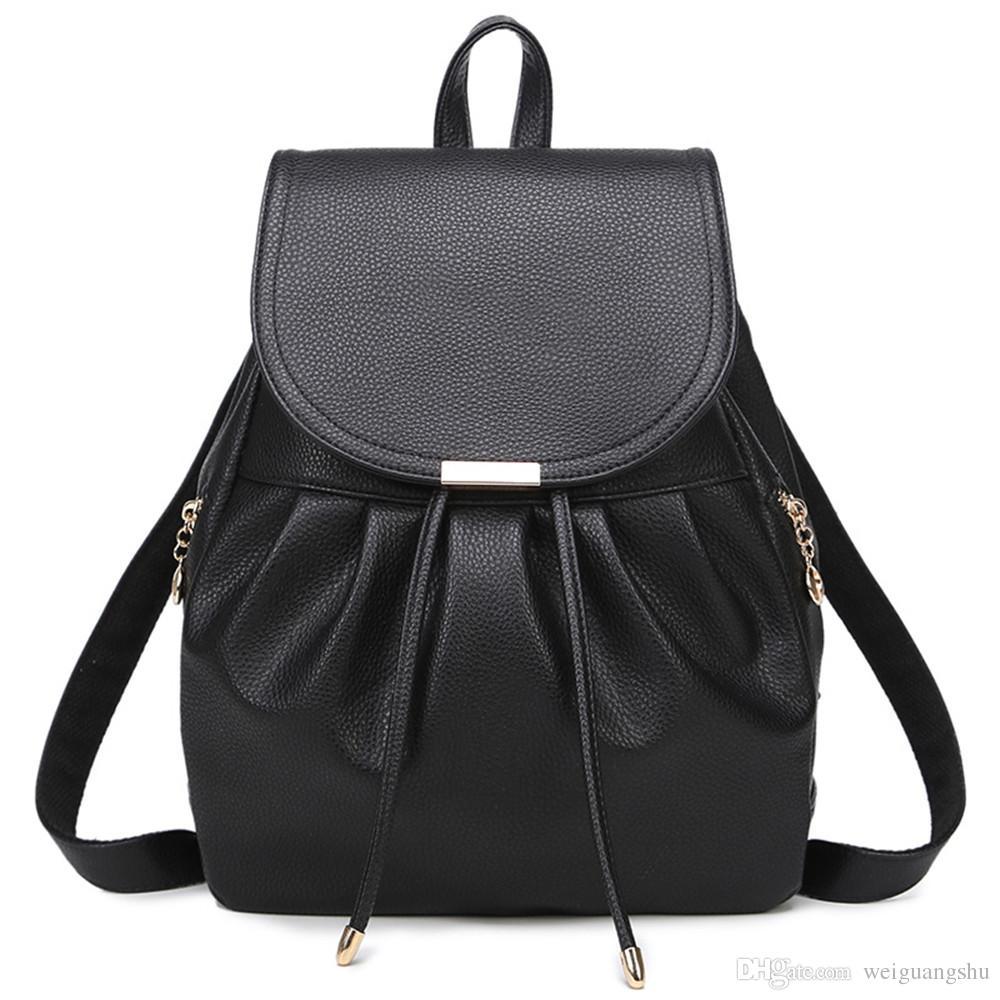 2f7b9d5fdf6f New Shoulder Bag Female Korean Version PU Female Bag Japanese And Korean  Style Fashion Casual Backpack Student Bag Black Leather Backpack Backpacks  For ...