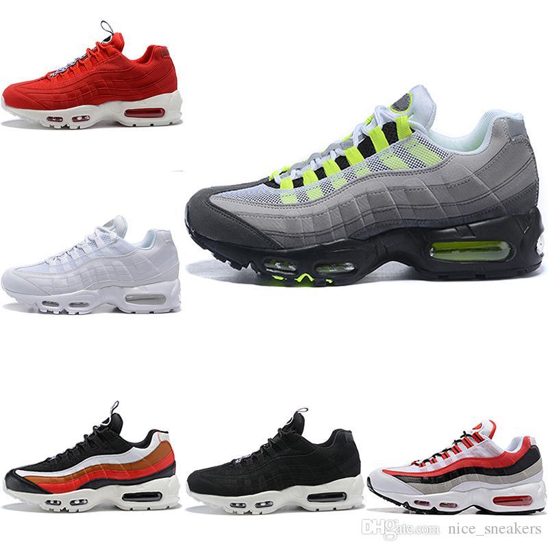 wholesale dealer b4d0c bdb70 2018 Men Designer 95 Running Shoes What The OG Grape Neon TT Black Red 95s  Mens Trainers Triple White Sports Sneakers Size 7-11